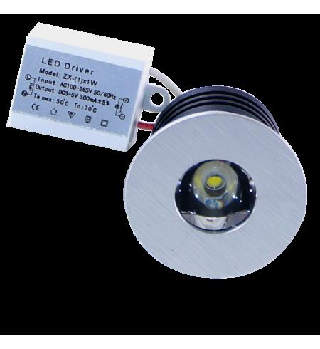 Silver round Spotlight Downlight 1W (porthole)